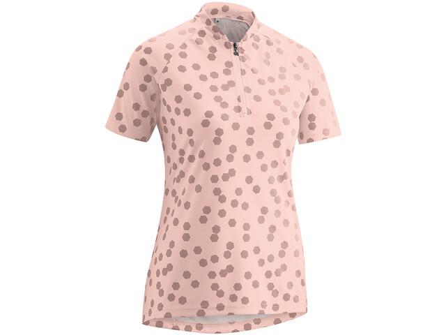 Gonso Lilo Fietsshirt Korte Mouwen Halve Rits Dames, roze